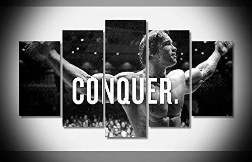 arnold schwarzenegger conquer bodybuilding poster imprim sur toile en 5 pi ces boutique. Black Bedroom Furniture Sets. Home Design Ideas
