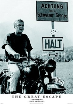 grande affiche plastifi e the great escape steve mcqueen. Black Bedroom Furniture Sets. Home Design Ideas