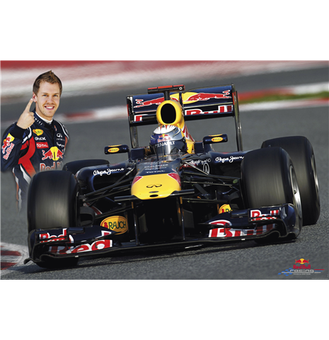 poster action red bull s vettel boutique red bull. Black Bedroom Furniture Sets. Home Design Ideas