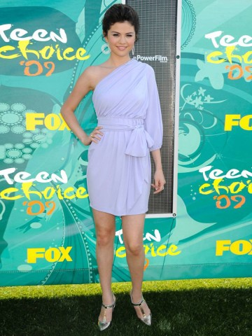 Selena Gomez Sheath / Column One Shoulder Belt 3/4-length Short / Mini  Chiffon Lavender Cocktail Dress / Homecoming Dress