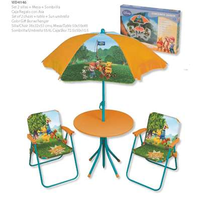 Set chaises table parasol winnie l 39 ourson boutique des stars - Rehausseur de chaise winnie l ourson ...