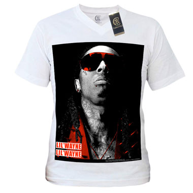 Cabaneli Tee Shirt Lil Wayne Blanc Jumbo Bw Photo Rouge