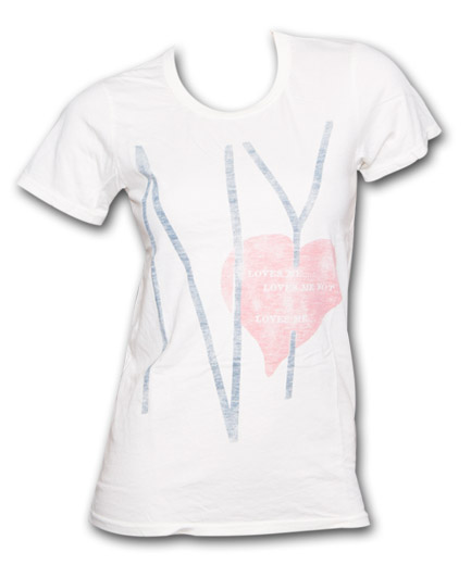 Ny Loves Me Loves Me Not Juniors Graphic Ivory Tee Shirt
