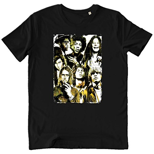 Pushertees-store - T-shirt Homme Black - Club 27 Rock Collection Vintage Music J27 Amy Winehouse Jim Morrison Jimi Hendrix Brian Jones Janis Joplin Kurt Cobain Robert Johnson - Idée Cadeau