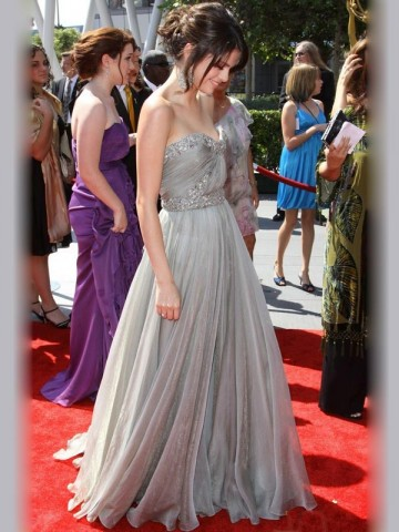 Selena Gomez Sheath / Column Sweetheart  Beading  Sleeveless Floor-length Chiffon Light Slate Gray Prom Dress / Evening Dress