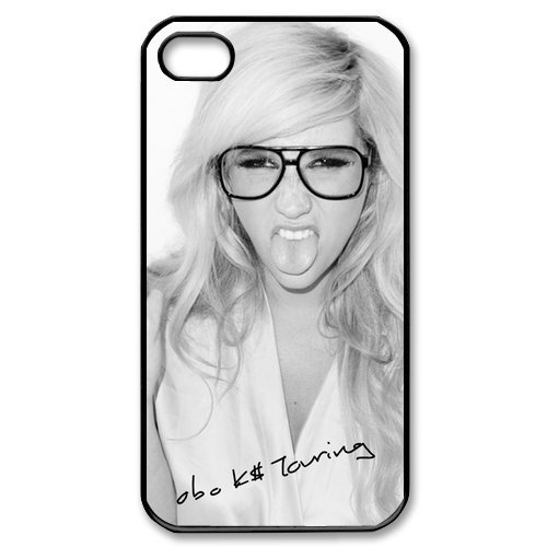 Stylish Sexy Singer Kesha Poster Make A Face With Signature Custom Case  Cover For Apple Iphone 4 / Iphone 4s
