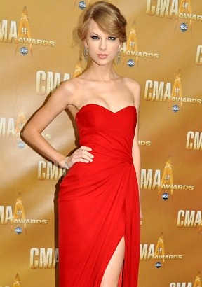 Taylor Swift Sheath / Column Sweetheart  Ruffles  Sleeveless Floor-length Chiffon Red Prom Dress / Evening Dress