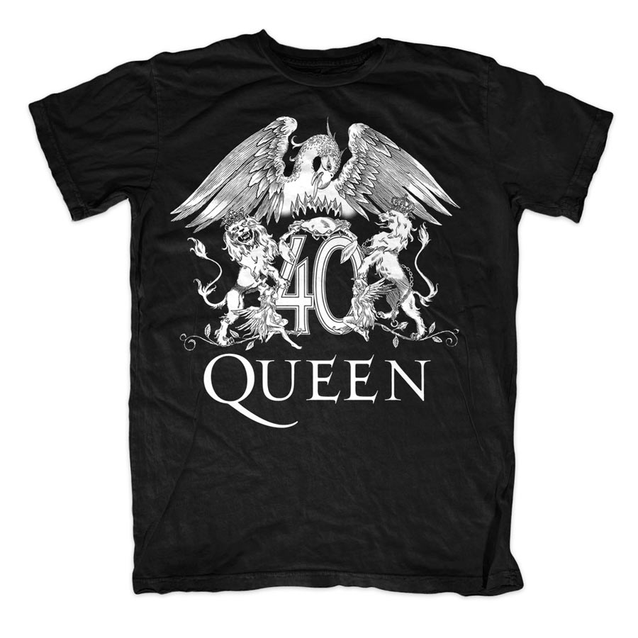Tee Shirt Queen 40th Crest Black