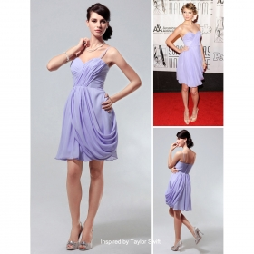 Mousseline A-ligne Bretelles Spaghetti Court / Mini Robe De Cocktail Inspiré Par Taylor Swift (fsh02298)