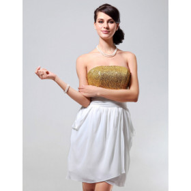Mousseline Gaine / Colonne Robe Bustier Cocktail Courte / Mini Inspiré Par Taylor Swift