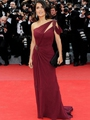 Salma Hayek Sheath / Column One Shoulder Beading  Sleeveless Floor-length Chiffon Red Prom Dress / Evening Dress