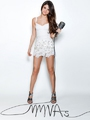 Selena Gomez Sheath / Column Spaghetti Straps  Lace Sleeveless Short / Mini  Chiffon White Cocktail Dress / Homecoming Dress