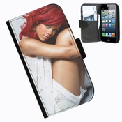 Hairyworm-rihanna Iphone 5, 5s ?tui Portefeuille En Cuir Avec Rabat Lat?ral Pour Apple Iphone 5, 5s T?l?phone