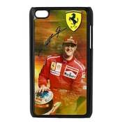 Custom German F1 Legend Rider Michael Schumacher Black Plastic Case For Ipod Touch 4th Cover