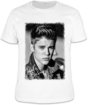 Justin Bieber Black White Portrait T-shirt