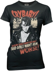 Cry Baby Bad Girls Want Him Johnny Depp Jeune Noir T-shirt