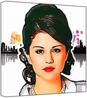 Selena Gomez - Pop Art Print (multicolour; Abstract Background 011) 30 X 30 X 2.5 Cm Medium Square Deep Box Canvas