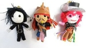Johnny Depp Ensemble Poupée De Vaudou Trousseau De Clés - Jack Sparrow, Edward Scissorhands Et The Mad Hatter