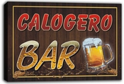 Scw3-041803 Calogero Name Home Bar Pub Beer Mugs Stretched Canvas Print Sign Impression Sur Toile