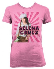 Selena Gomez - - White T Beret Fille-shirt En Rose