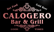 U06635-r Calogero Family Name Bar & Grill Cold Beer Neon Light Sign Enseigne Lumineuse
