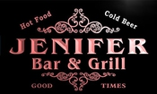 U22057-r Jenifer Family Name Bar & Grill Home Beer Food Neon Sign Enseigne Lumineuse