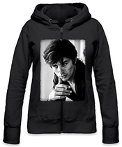 Alain Delon Black White Portrait Womens Zipper Hoodie