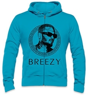 Chris Brown Breezy Rihanna Medusa Gold Mens Zipper Hoodie