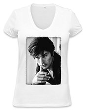 Alain Delon Black White Portrait Womens V-neck T-shirt