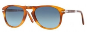 Persol 0714sm Steve Mcqueen Edition Light Tortoise Frame/polarized Blue Gradient Lens Plastic Sunglasses, 54mm