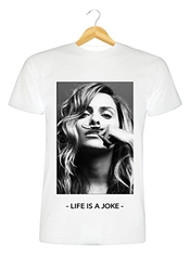 T-shirt Blanc Homme Femme Mixte Clara Morgane Eleven Paris Life Is A Joke Moustache Swag