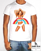 T-shirt Johnny Cerfs Aztèques Fond Blanc Montée Collection Mariah Carey Jd1 Img_1019 Arc-en-ciel