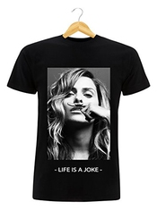T-shirt Noir Homme Femme Mixte Clara Morgane Eleven Paris Life Is A Joke Moustache Swag