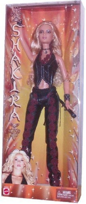 Barbie Year 2002 International Superstar 12 Inch Doll - Shakira In Black Leather Outfit With Necklace, Bracelet And Microphone (b4534) By Hasbro