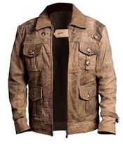 F&h Men's Expendables Jason Statham Genuine Distressed Leather Jacket