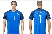 Uefa Euro 2016 France 1 Hugo Lloris Soccer Shirt European Championship Jersey Mens Short Sleeve