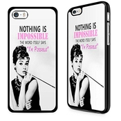 Gadget Zoo® Célèbre Citation Motivation Dicton Funny Coque Rigide Pour Iphone 4/4s/5/5s 5 c 6 6s Plus Noir, Plastique,  - Audrey Hepburn Nothing Is Impossible, Iphone 5c