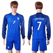 2016-2017 France 7# Antoine Griezmann Home Customized Men's Soccer Jersey Long Sleeves Jersey & Short