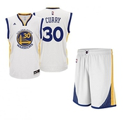 Adidas - Maillot Et Short Nba Stephen Curry Golden States Warriors Blanc Pour Enfant Et Junior Adidas