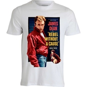 James Dean Rebel Without A Cause Vintage Movie Poster T Shirt Homme Blanc