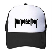 Feruch Custom Justin Bieber Purpose Tour Classical Logo Trucker Hat Orange Sun Hat Black