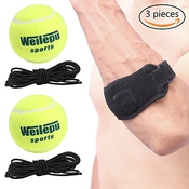 Tennis Elbow + 2 pcs Balle De Tennis Avec Corde, Tennis & Golfeur De Coude Sangle Band Avec Compression Pad, Professionnel D'entraînement Balle De Tennis