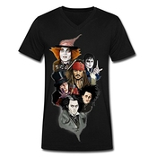The Many Faces Of Johnny Depp Mens V Neck T Shirt Black Xxxx-large
