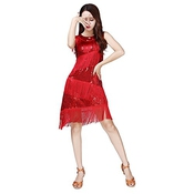 Femmeslatin Dance Dress, Tango Rumba Latin Sexy Femmes Qlan Rhythm Tassel Sequins Dance Dress
