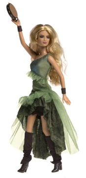 Barbie Year 2003 International Superstar 12 Inch Doll - Shakira In Green Dress, Boots With Tambourine By Mattel By Mattel