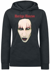 Marilyn Manson Big Face Red Lids Sweat-shirt à Capuche Noir