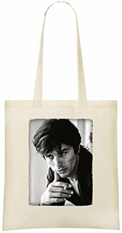 Alain Delon Portrait Noir Blanc - Alain Delon Black White Portrait Custom Printed Shopping Grocery Tote Bag 100% Soft Cotton Eco-friendly & Stylish Handbag For Everyday Use Custom Shoulder Bags