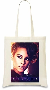 Alicia Keys Glamour Portrait - Glamour Portrait Custom Printed Tote Bag| 100% Soft Cotton| Natural Color & Eco-friendly| Unique, Re-usable & Stylish Handbag For Every Day Use| Custom
