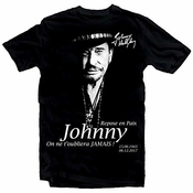 Johnny Hallyday Star Homme Noir Mens T-shirt Unisex Xs-4xl