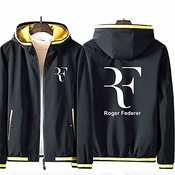 73HA73 Sweat Zippé à Capuche pour Hommes Tennis Grand Slam Roger Federer Mode Adolescente À Manches Longues Confortable Sweat Unisexe Veste (No Shirt)